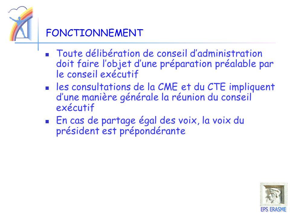 FONCTIONNEMENT Toute délibération de conseil d'administration doit faire l'objet d'une préparation préalable par le conseil exécutif.