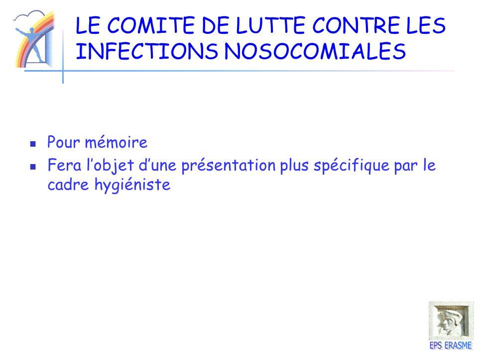 LE COMITE DE LUTTE CONTRE LES INFECTIONS NOSOCOMIALES