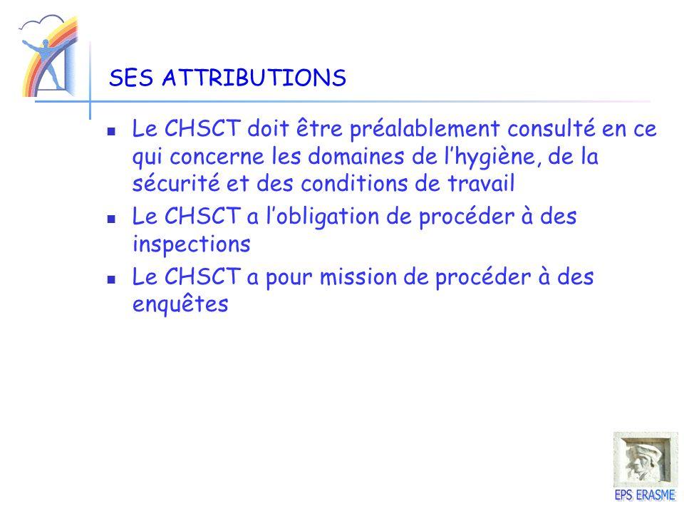 SES ATTRIBUTIONS Le CHSCT doit être préalablement consulté en ce qui concerne les domaines de l'hygiène, de la sécurité et des conditions de travail.