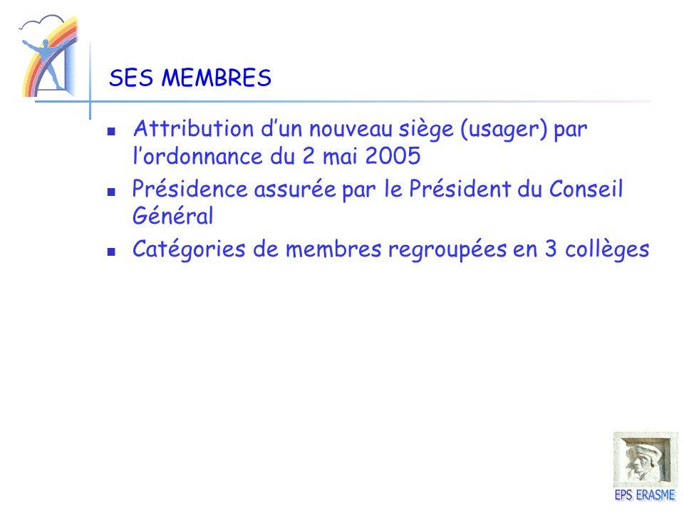 SES MEMBRES Attribution d'un nouveau siège (usager) par l'ordonnance du 2 mai 2005. Présidence assurée par le Président du Conseil Général.