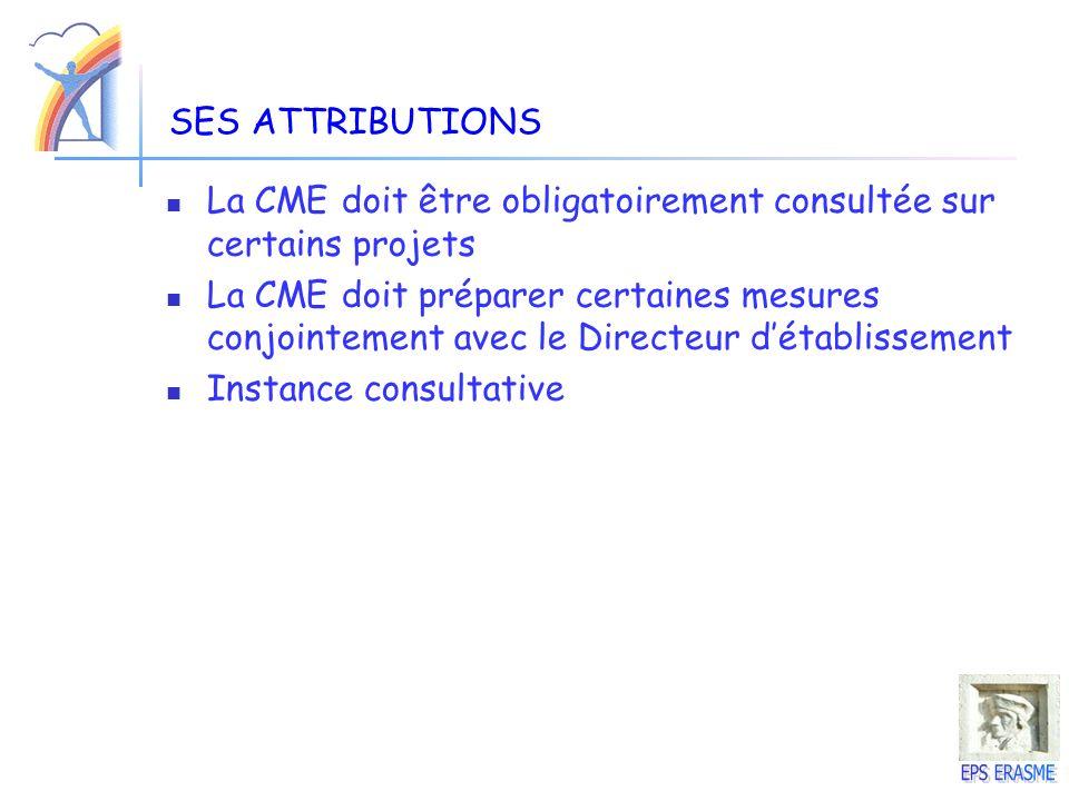 SES ATTRIBUTIONS La CME doit être obligatoirement consultée sur certains projets.