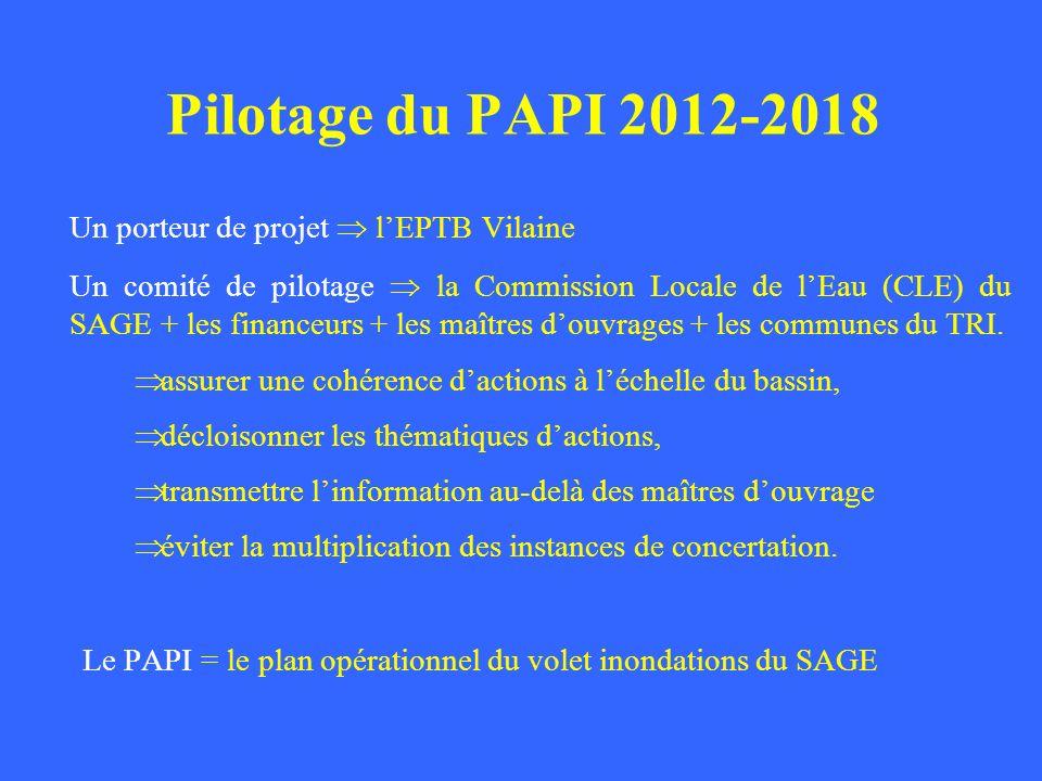 Pilotage du PAPI 2012-2018 Un porteur de projet  l'EPTB Vilaine