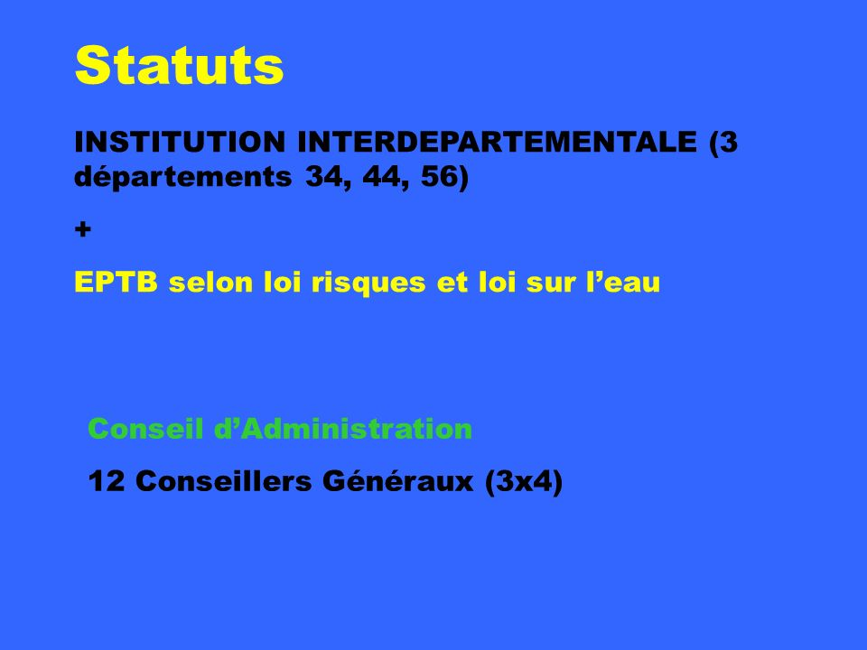 Statuts INSTITUTION INTERDEPARTEMENTALE (3 départements 34, 44, 56) +