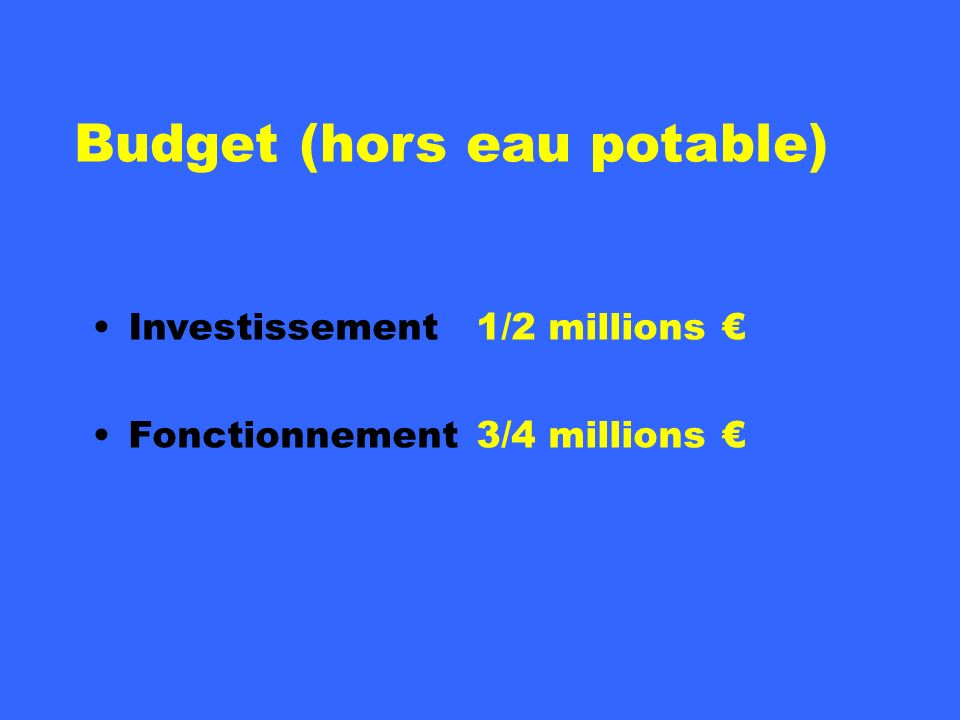 Budget (hors eau potable)