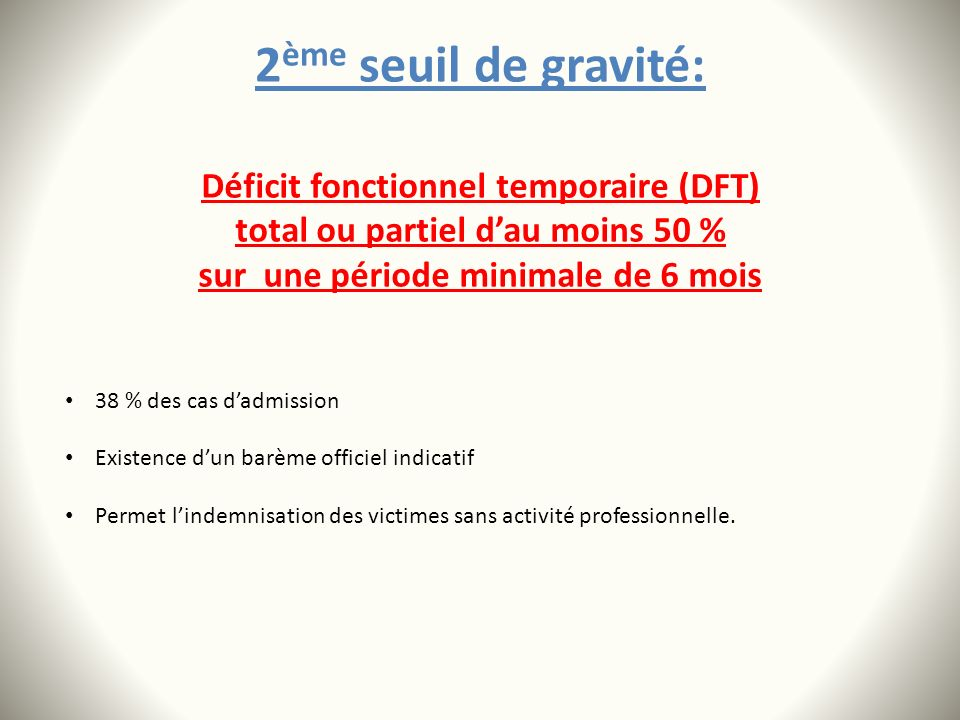 2ème seuil de gravité: Déficit fonctionnel temporaire (DFT)