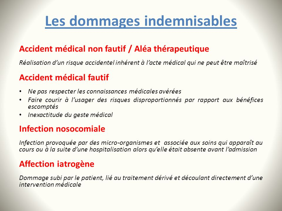 Les dommages indemnisables