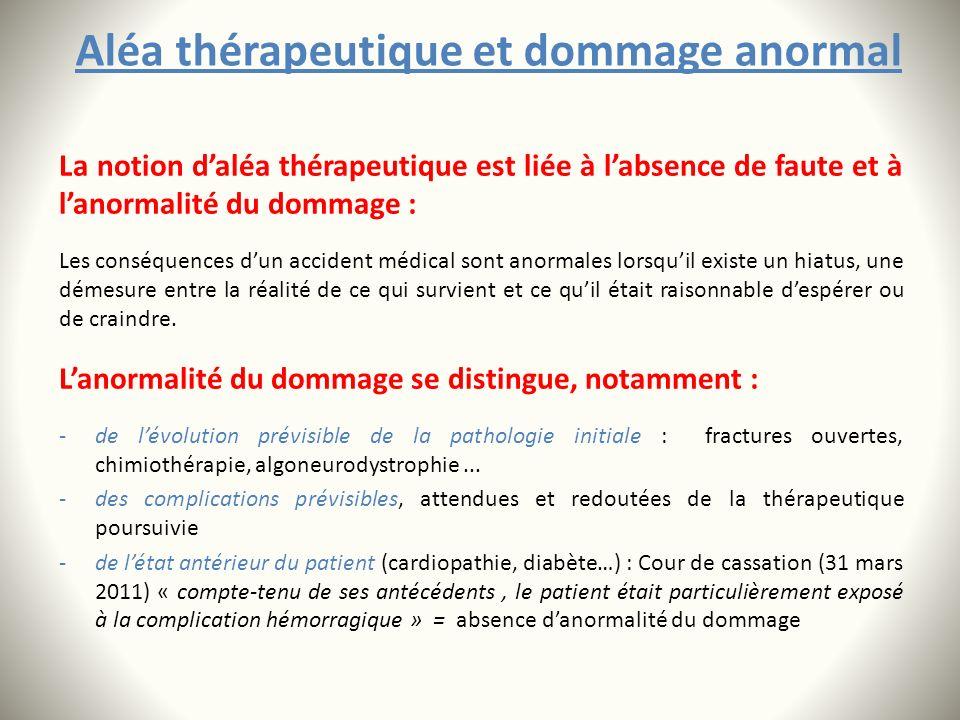 Aléa thérapeutique et dommage anormal