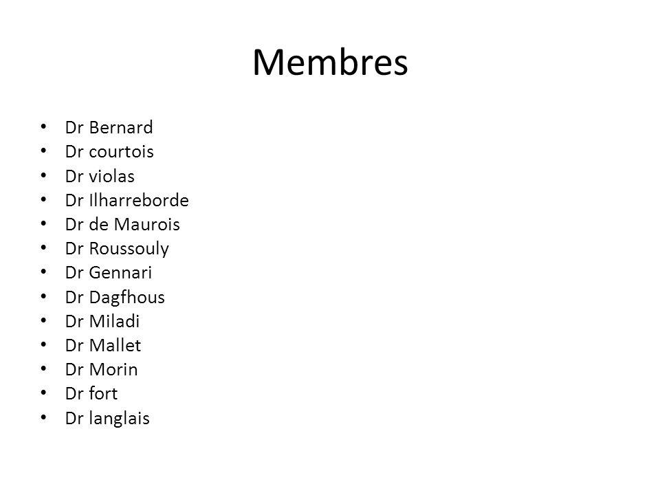 Membres Dr Bernard Dr courtois Dr violas Dr Ilharreborde Dr de Maurois