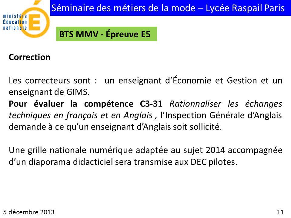 BTS MMV - Épreuve E5 Correction