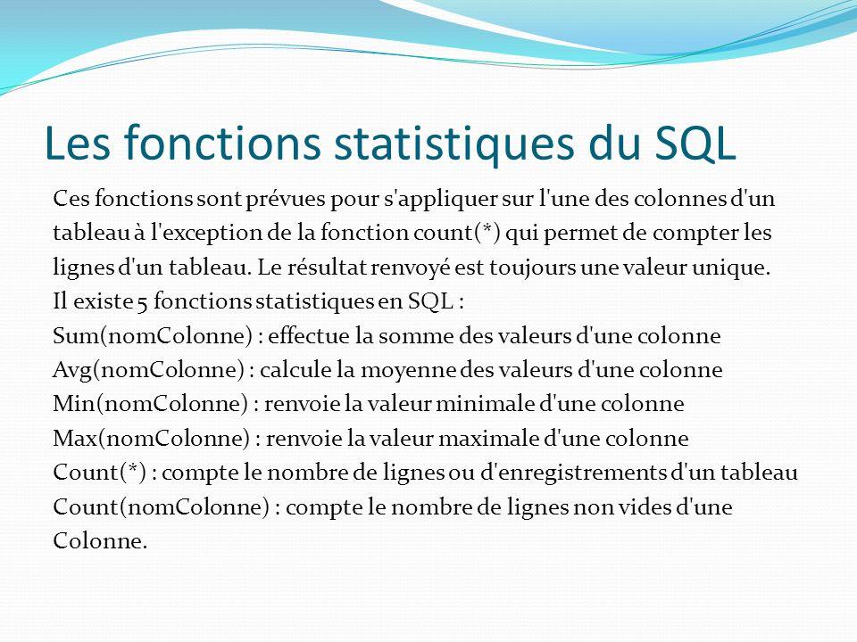 Les fonctions statistiques du SQL