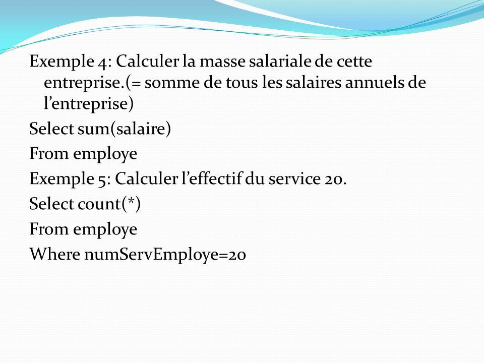 Exemple 4: Calculer la masse salariale de cette entreprise