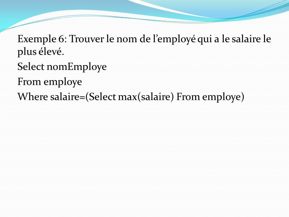 Exemple 6: Trouver le nom de l'employé qui a le salaire le plus élevé