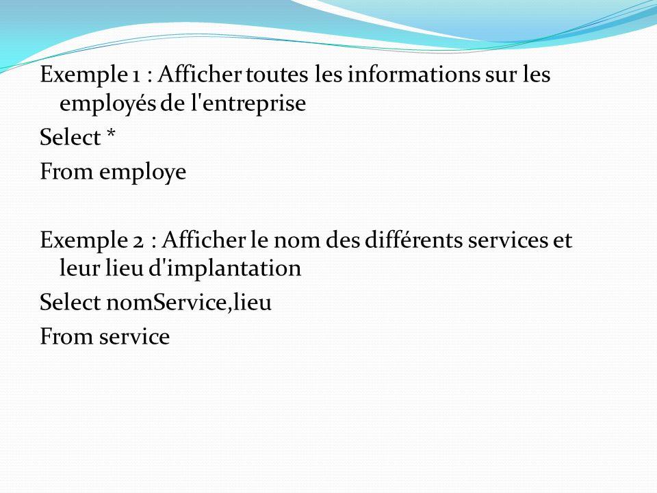 Exemple 1 : Afficher toutes les informations sur les employés de l entreprise Select * From employe Exemple 2 : Afficher le nom des différents services et leur lieu d implantation Select nomService,lieu From service