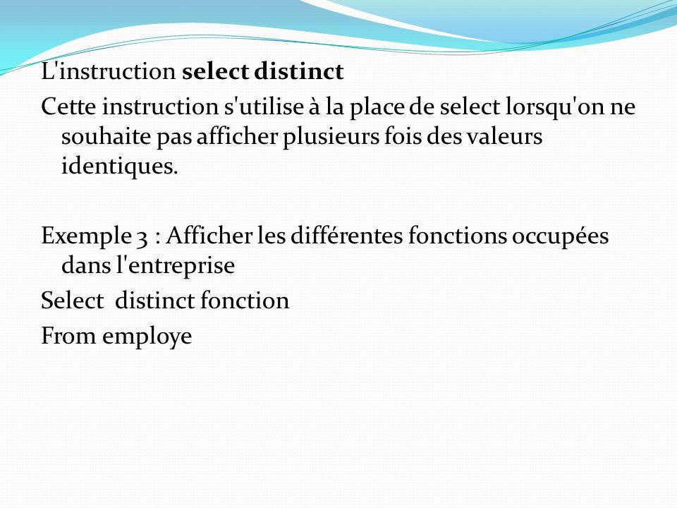 L instruction select distinct Cette instruction s utilise à la place de select lorsqu on ne souhaite pas afficher plusieurs fois des valeurs identiques.