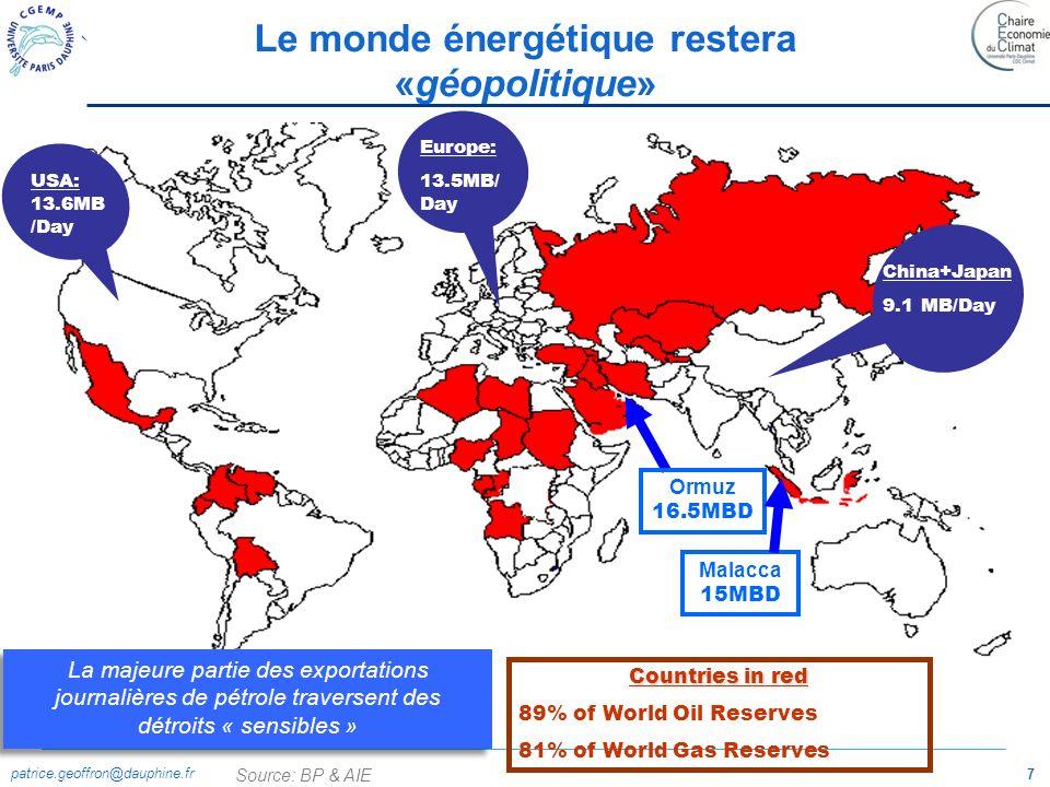 Le monde énergétique restera «géopolitique»