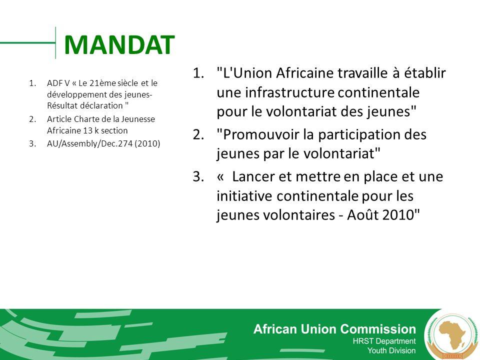 L Union Africaine travaille à établir une infrastructure continentale pour le volontariat des jeunes
