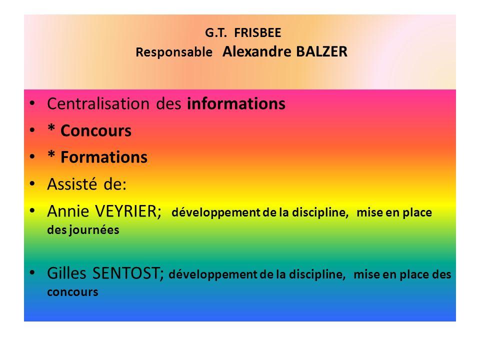 G.T. FRISBEE Responsable Alexandre BALZER