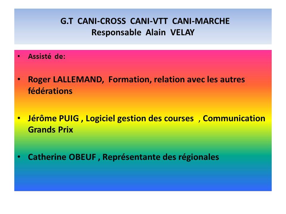 G.T CANI-CROSS CANI-VTT CANI-MARCHE Responsable Alain VELAY