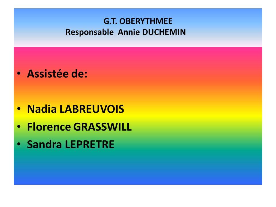 G.T. OBERYTHMEE Responsable Annie DUCHEMIN
