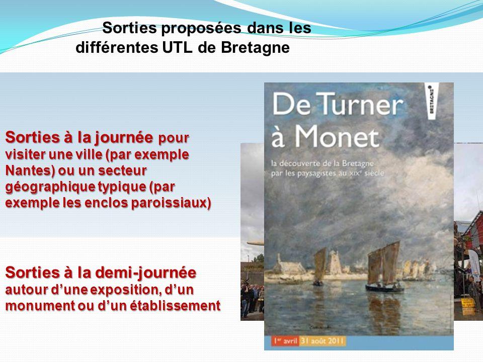 Sorties proposées dans les différentes UTL de Bretagne