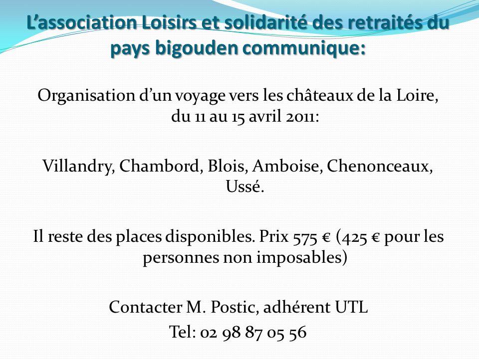 L'association Loisirs et solidarité des retraités du pays bigouden communique: