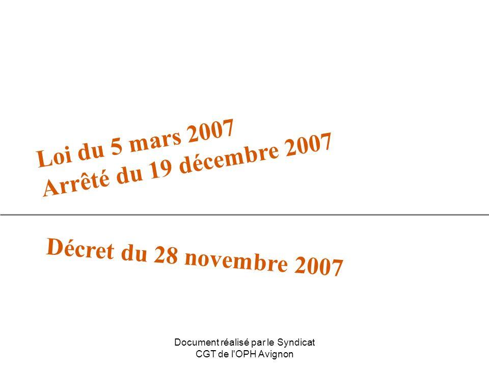 Document réalisé par le Syndicat CGT de l OPH Avignon