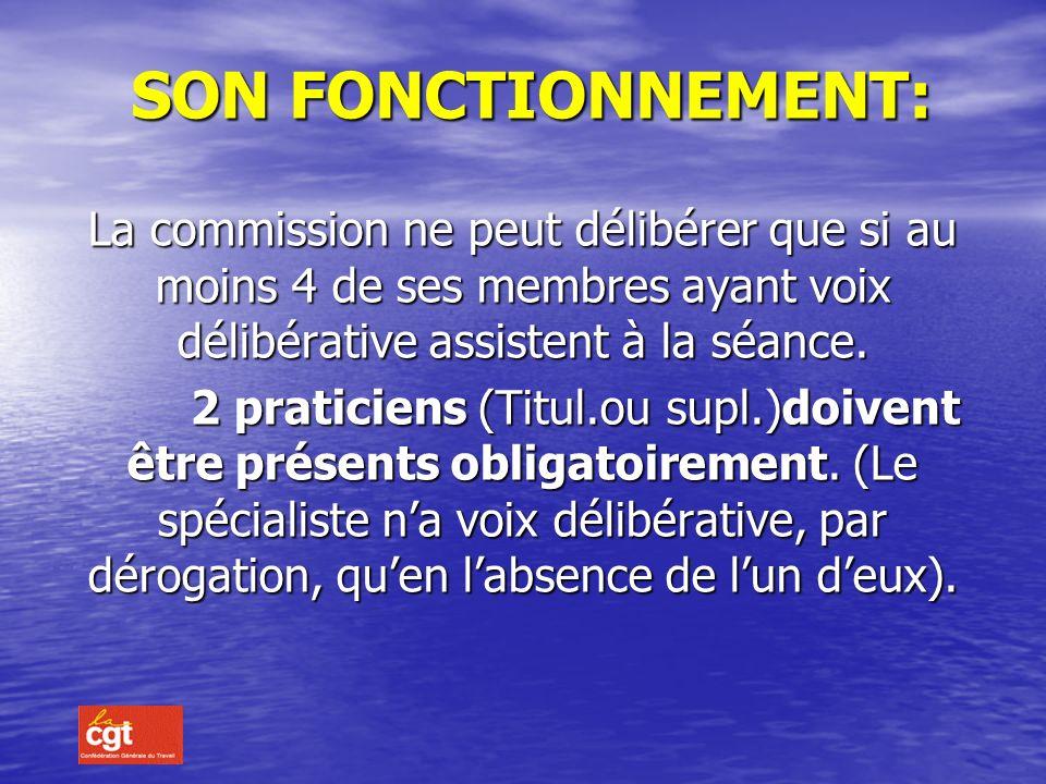 SON FONCTIONNEMENT: La commission ne peut délibérer que si au moins 4 de ses membres ayant voix délibérative assistent à la séance.