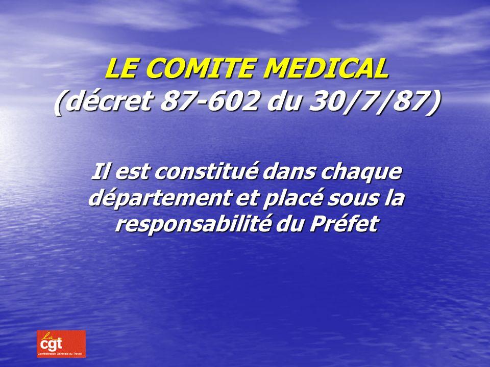 LE COMITE MEDICAL (décret 87-602 du 30/7/87)