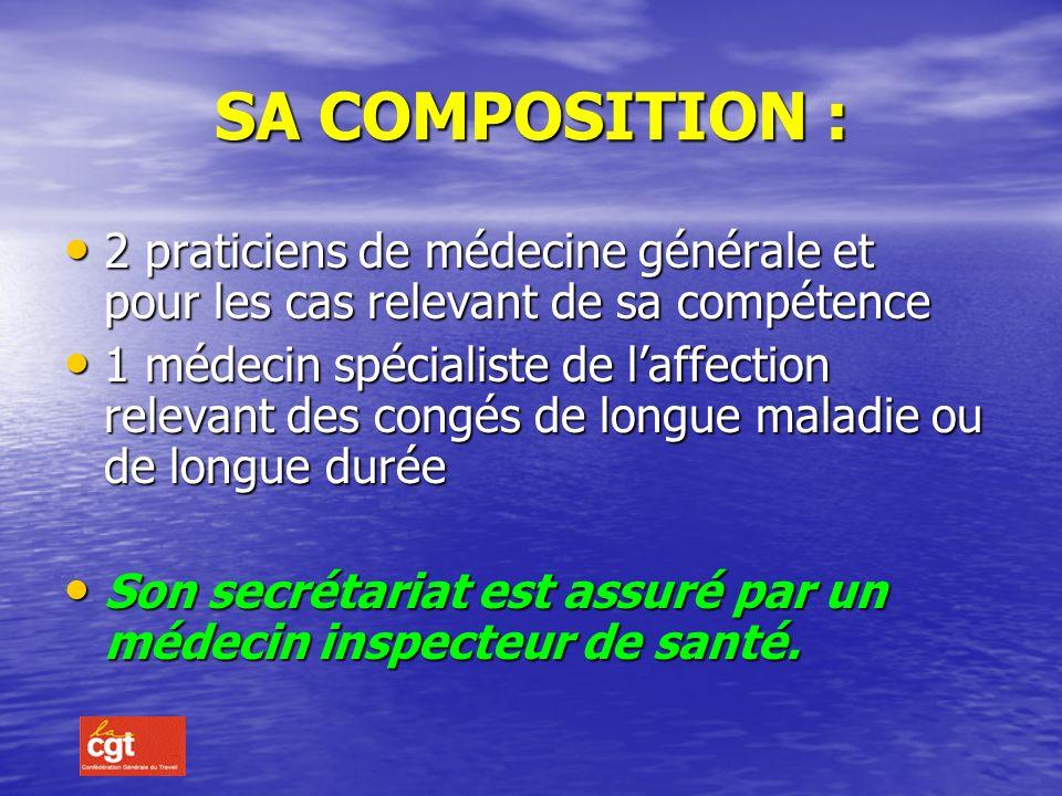 SA COMPOSITION : 2 praticiens de médecine générale et pour les cas relevant de sa compétence.