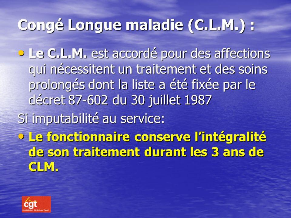 Congé Longue maladie (C.L.M.) :