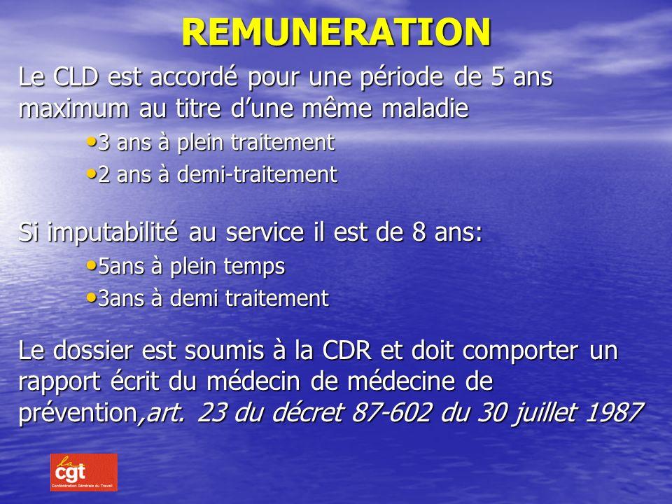 REMUNERATION Le CLD est accordé pour une période de 5 ans maximum au titre d'une même maladie. 3 ans à plein traitement.