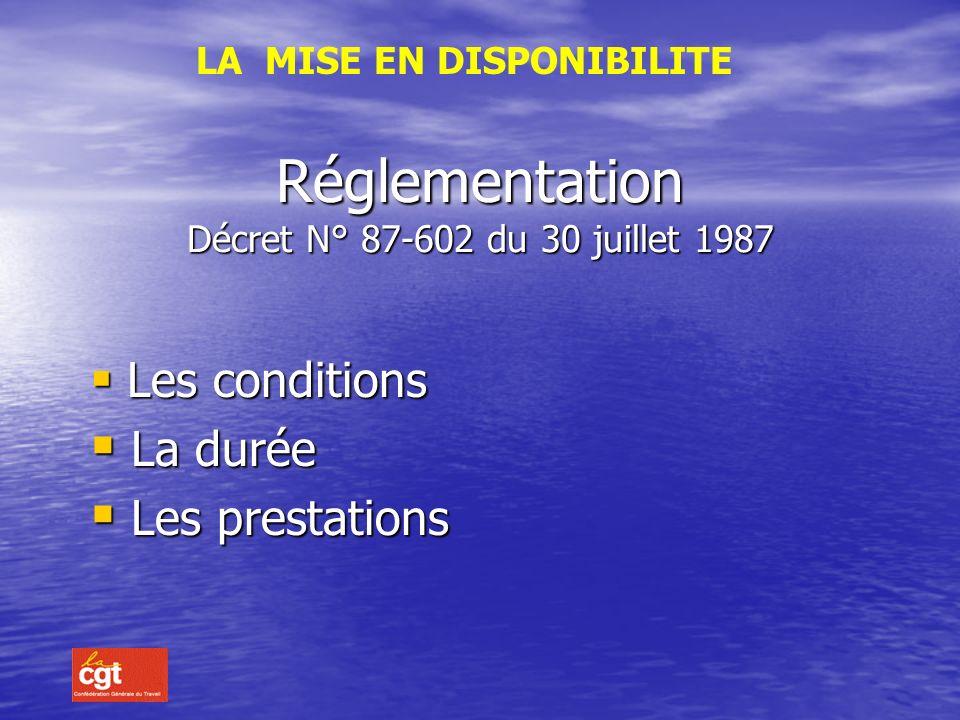 Réglementation Décret N° 87-602 du 30 juillet 1987