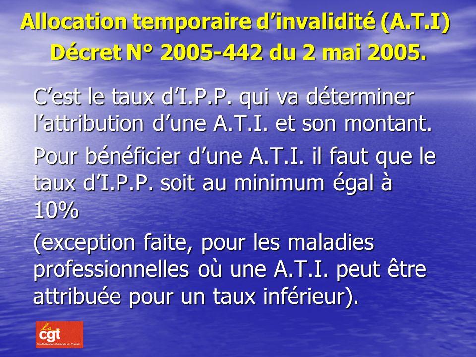 Allocation temporaire d'invalidité (A. T