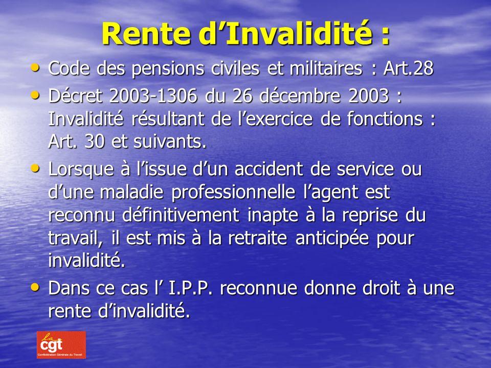 Rente d'Invalidité : Code des pensions civiles et militaires : Art.28