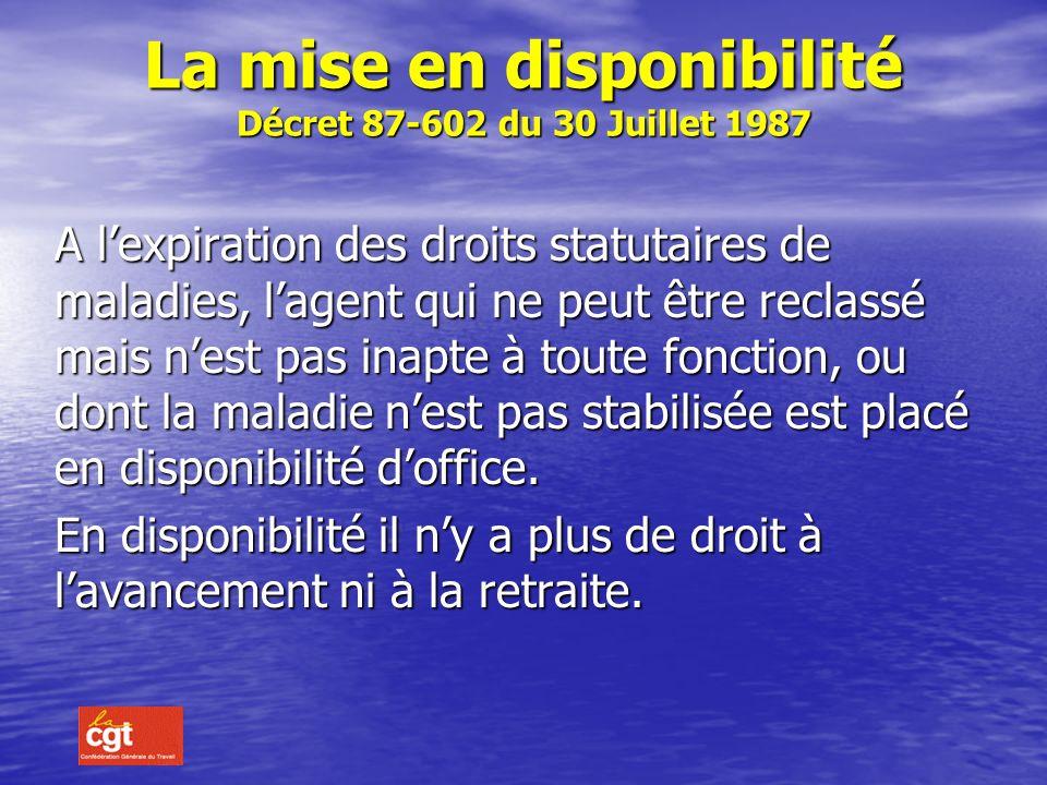 La mise en disponibilité Décret 87-602 du 30 Juillet 1987