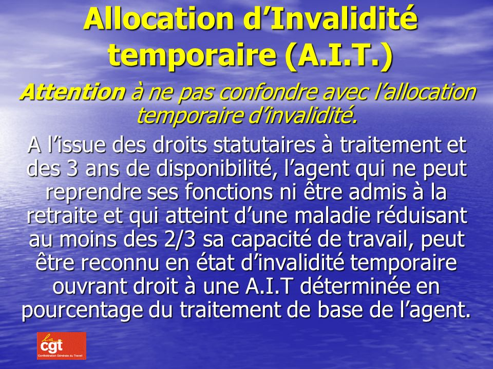 Allocation d'Invalidité temporaire (A.I.T.)
