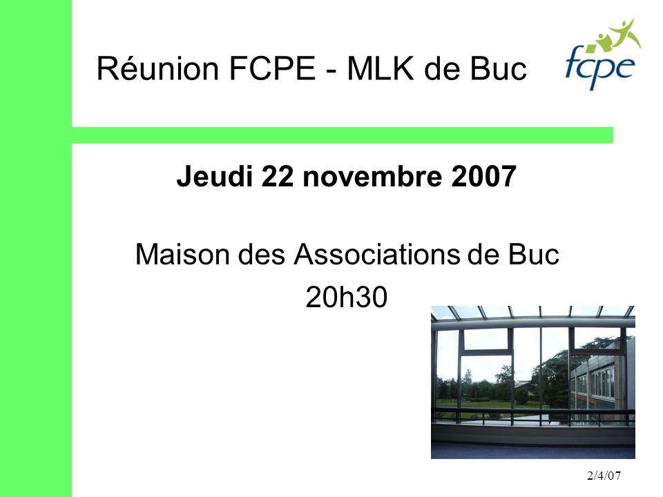 Réunion FCPE - MLK de Buc