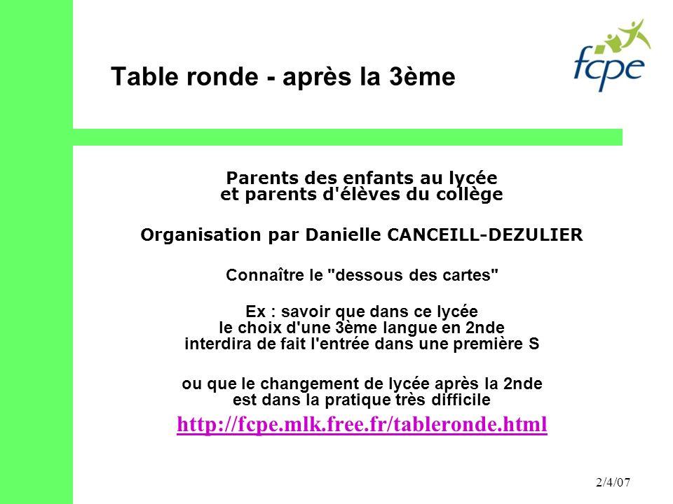 Table ronde - après la 3ème