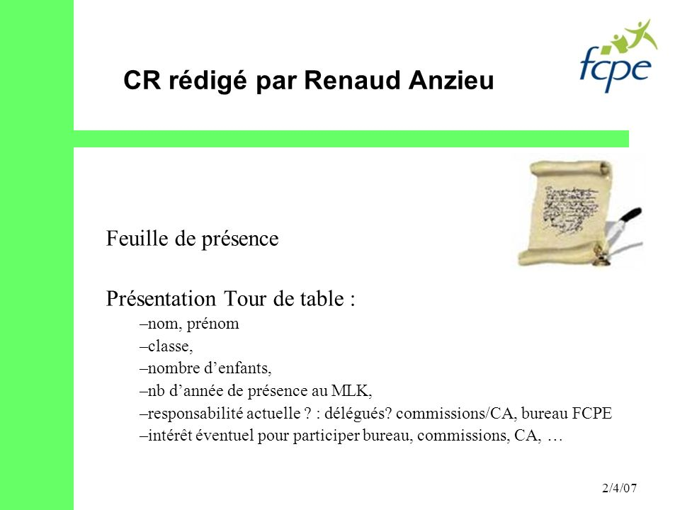 CR rédigé par Renaud Anzieu