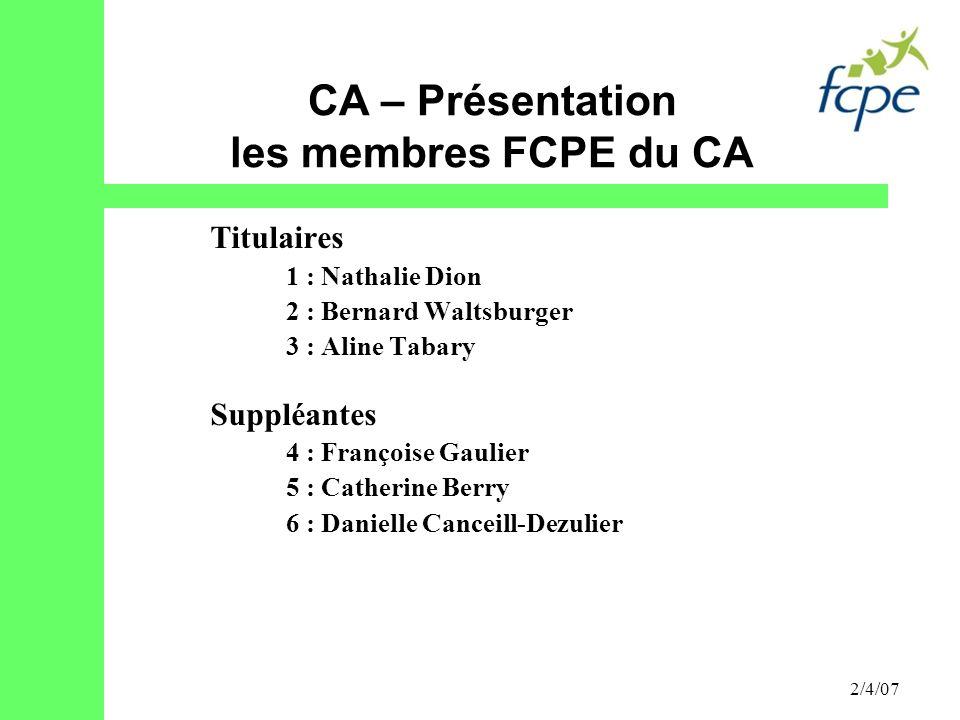 CA – Présentation les membres FCPE du CA