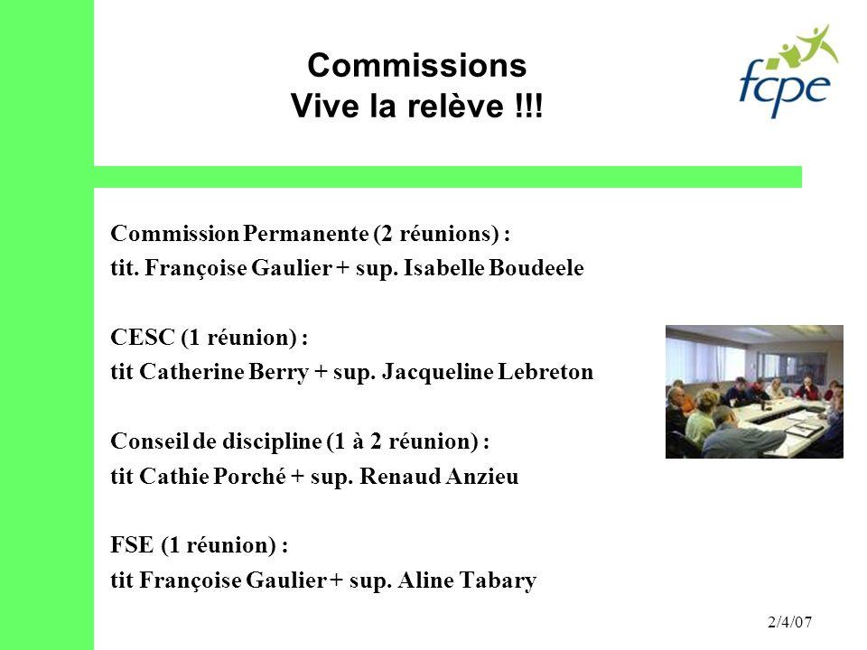 Commissions Vive la relève !!!