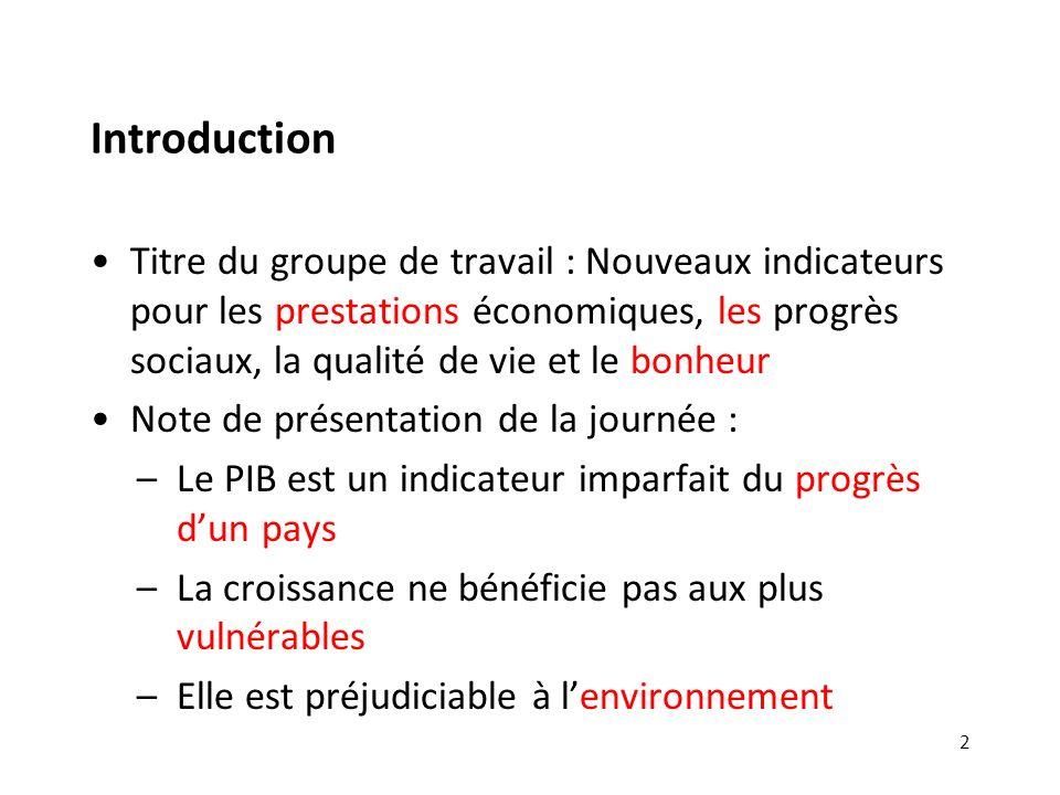 Introduction Titre du groupe de travail : Nouveaux indicateurs pour les prestations économiques, les progrès sociaux, la qualité de vie et le bonheur.