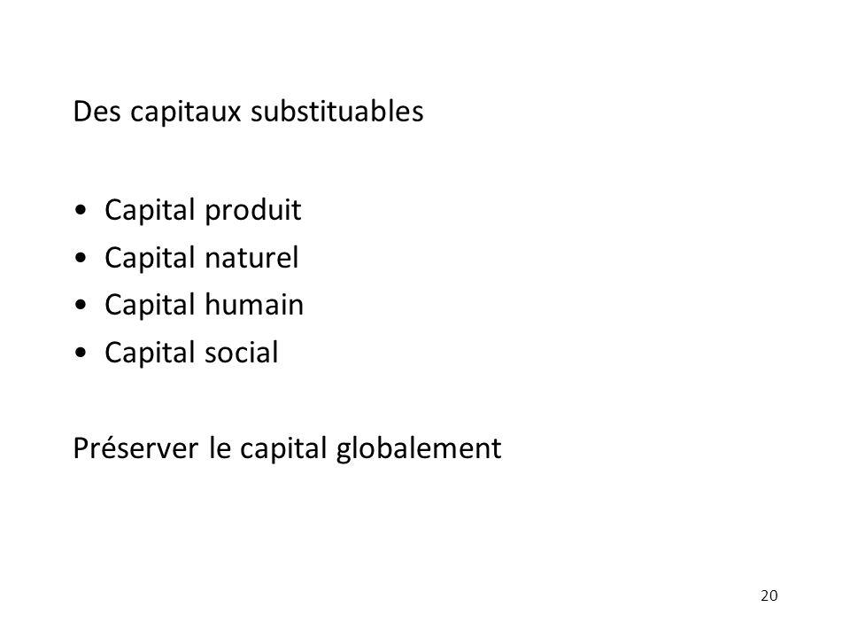 Des capitaux substituables