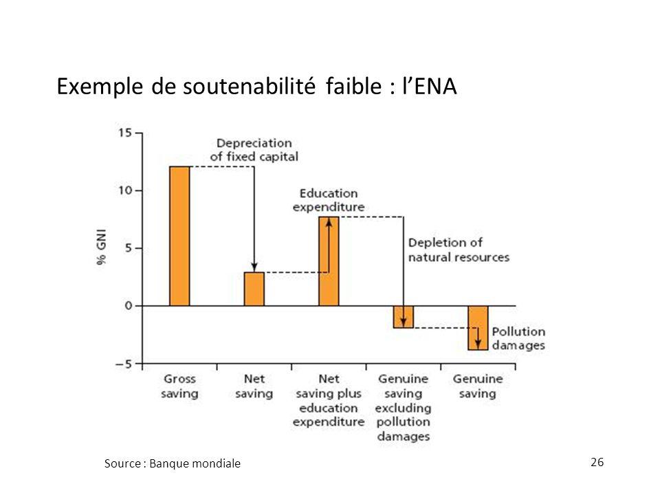 Exemple de soutenabilité faible : l'ENA