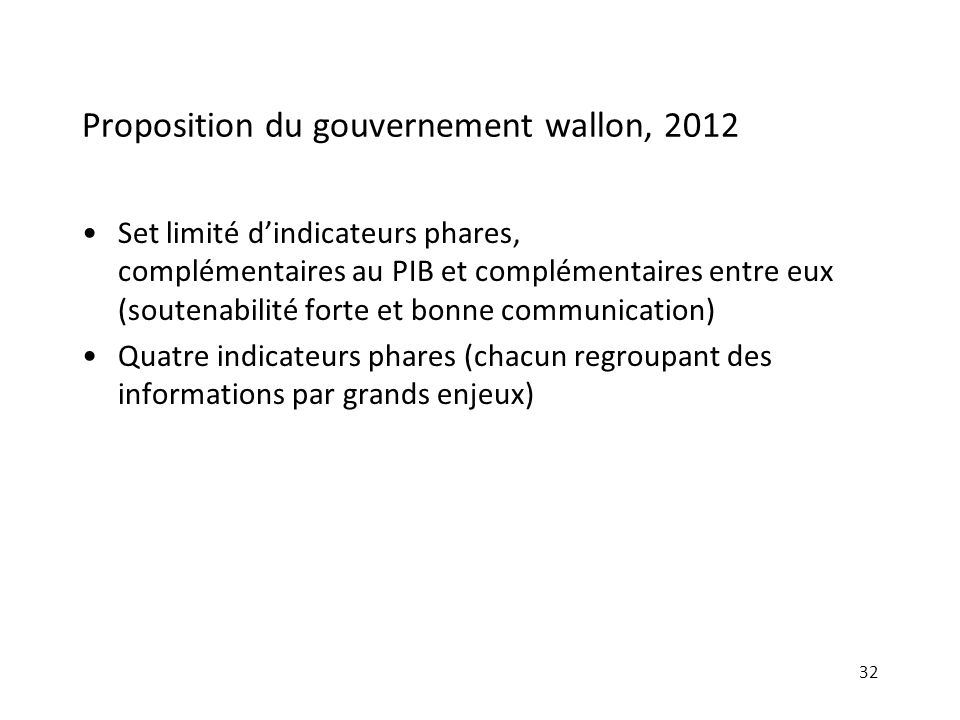 Proposition du gouvernement wallon, 2012
