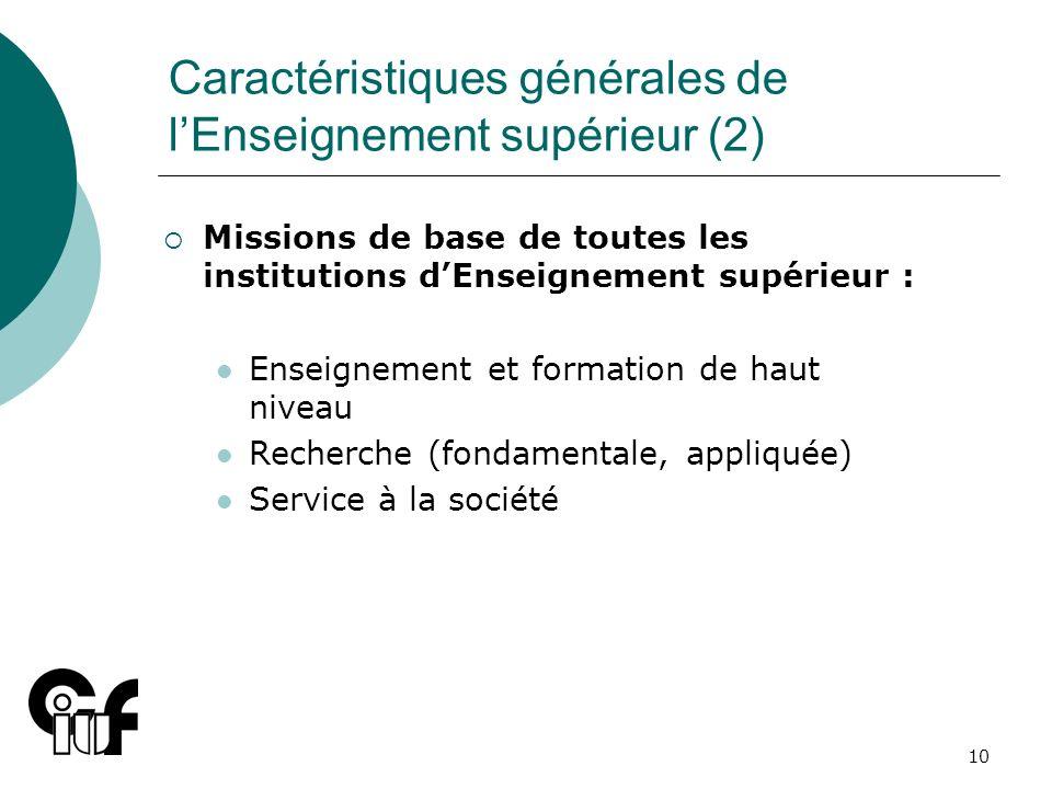 Caractéristiques générales de l'Enseignement supérieur (2)