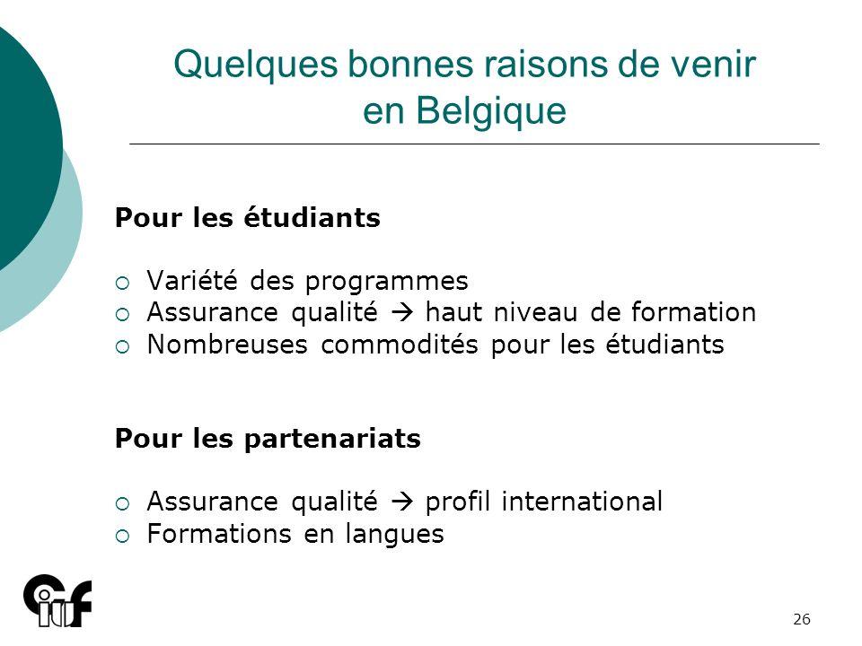 Quelques bonnes raisons de venir en Belgique