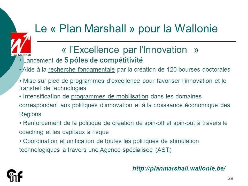 Le « Plan Marshall » pour la Wallonie