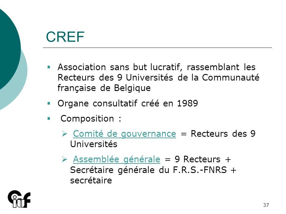 CREF Association sans but lucratif, rassemblant les Recteurs des 9 Universités de la Communauté française de Belgique.