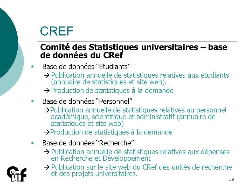 CREF Comité des Statistiques universitaires – base de données du CRef